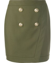 balmain military mini skirt - green