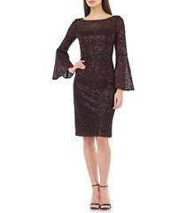 women's carmen marc valvo infusion sequin lace bell sleeve cocktail dress