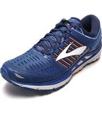 tenis running azul-naranja-gris brooks transcend 5