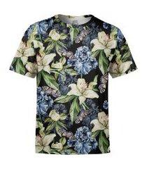 camiseta masculina floral iris e borboletas estampa digital