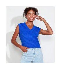 colete de tricô feminino mindset texturizado trança decote v azul royal