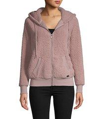 hooded faux fur & fleece teddy jacket