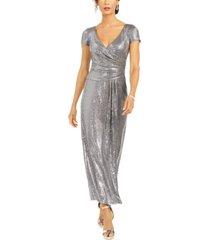 r & m richards sequined draped sheath dress