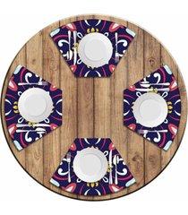 jogo americano   para mesa redonda wevans mandala roxa kit com 4 peã§as.  love decor - multicolorido - dafiti