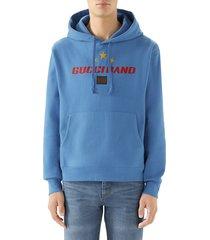 men's gucci band print hooded sweatshirt