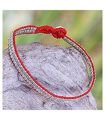sterling silver beaded bracelet, 'shimmering path in red' (indonesia)