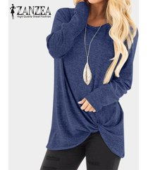 zanzea casual mujeres camiseta de manga larga asimétrica floja llanura tapas de la camisa de la blusa de gran tamaño nueva -azul