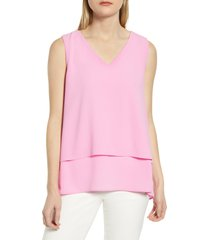 women's chaus tiered v-neck blouse, size x-large - pink