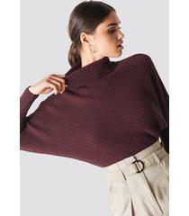 na-kd folded knitted sweater - burgundy