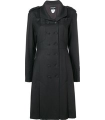 chanel pre-owned 2009 box pleats flared coat - black