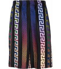 greca neon print silk shorts