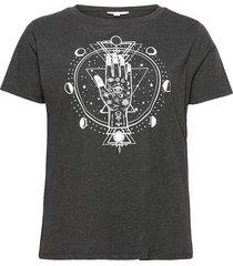 carluni ss o-neck reg tee t-shirts & tops short-sleeved grå only carmakoma