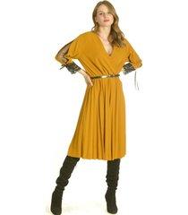 vestido manga encaje mostaza bou's