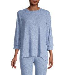 donna karan sleepwear women's floral sweatshirt - grey print - size m