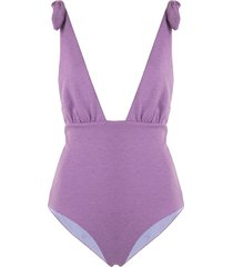 mara hoffman daphne reversible one-piece swimsuit - purple
