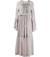 etro embroidered peasant dress - purple