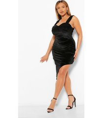 plus velours midi jurk met zijsplit, black