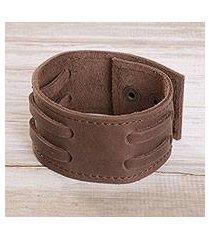 men's leather wristband bracelet, 'bold style in mahogany' (peru)
