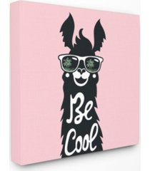 "stupell industries be cool llama with sunglasses canvas wall art, 17"" x 17"""