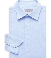 canali men's plaid modern-fit dress shirt - light blue - size 45 (17.75)
