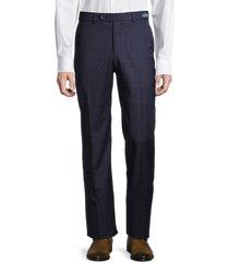 saks fifth avenue men's standard-fit tonal plaid wool pants - grey - size 40