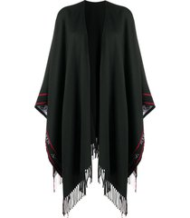 alexander mcqueen selvedge fringed wool cape