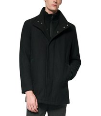 marc new york men's coyle melton wool car coat with inset knit bib