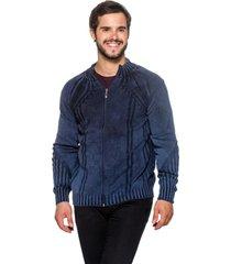 jaqueta  officina do tricô frança azul - kanui