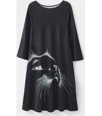camicetta casual da donna a maniche lunghe con scollo a o con stampa di gatti plus