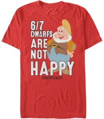 disney men's snow white statistically 6/7 dwarfs are unhappy short sleeve t-shirt