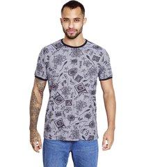 camiseta sideway harry potter símbolos - cinza
