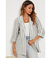 yoins blusa de mangas ajustables con cuello de muesca a rayas grises