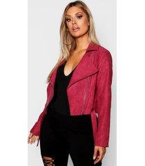 plus belted suedette crop biker jacket, berry