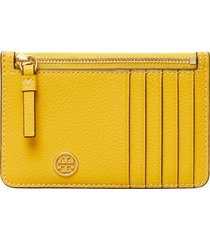 women's tory burch walker leather top zip card case - yellow