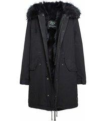 exclusive fw20 icon parka: black parka patch fox raccoon fur
