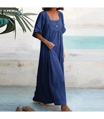 zanzea vestido largo de cuello cuadrado para mujer vestido largo liso de verano vestido largo de talla grande -azul oscuro