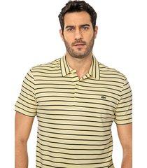 camisa polo lacoste reta listrada amarela/azul-marinho - kanui