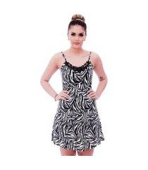 camisola ficalinda de alça fina estampa zebra com renda guipir preta no decote