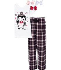mi amore gigi little and big girls interchangeable bow 3d penguin graphic pajama set
