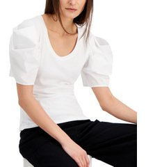 inc cotton poplin elbow-sleeve top, created for macy's