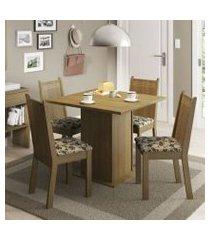 conjunto sala de jantar kate madesa tampo de madeira com 4 cadeiras rustic/bege marrom