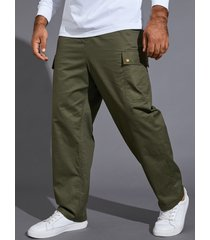 hombres moda retro loose straight big pocket utility casual pantalones