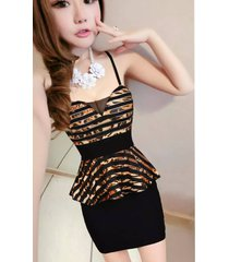 pf119 cutie halter strappy dress, mesh & cotton, free size, gold