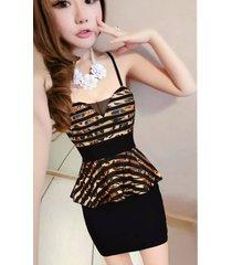 pf119 cutie halter strappy dress, mesh & cotton, free size, gold