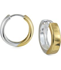 argento vivo small two-tone square edge hoop earrings in sterling silver & 18k gold-plate, 0.6""