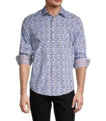 robert graham men's tailored-fit lakeland printed shirt - white - size s