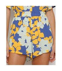 short feminino cintura alta estampado floral com bolsos azul