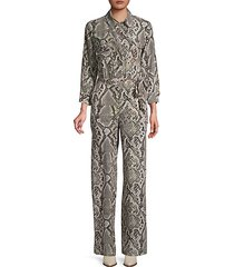 teddy snake-print silk jumpsuit