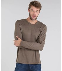 suéter masculino em tricô slim fit gola redonda verde militar