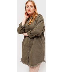 blusa missguided plus oversized denim shirt dr verde - calce oversize